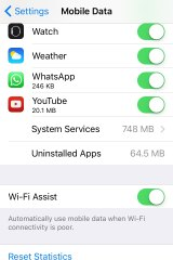 The Wi-Fi Assist setting can be turned off in the Mobile Data settings screen.