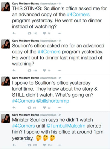 Caro Meldrum-Hanna accuses Nigel Scullion's department of knowing all about the upcoming Four Corners expose.