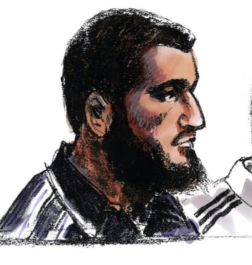 Ezzit Raad as depicted by an artist during his court appearance.