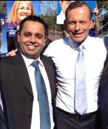 Harmandeep Sarkaria with Tony Abbott.