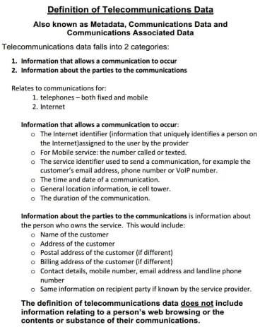 How the Attorney-General's Department defines metadata in a federal parliamentary submission.