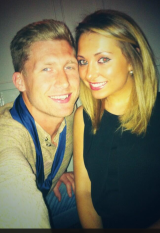 Lewis Smith and his fiancee.