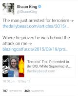 Activist Shaun King's tweets following Joshua Goldberg's arrest.