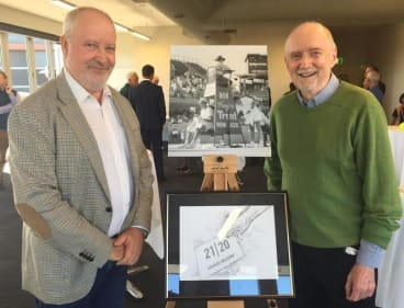 Tennis historian Peter Rasey (left) and author and former journalist Hugh Lunn at the statue proposal launch.