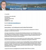 An excerpt from the letter Labor sent to the AFP asking for an investigation into Bronwyn Bishop's expenses.