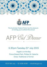 The invitation to the AFP Eid Dinner.