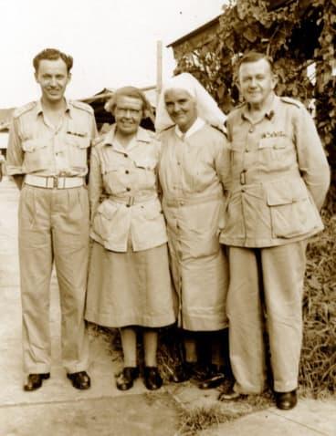 The malaria team (from left) Lieutenant-Colonel Ruthven Blackburn, Matron J. Mackerras , Matron B. Burbidge and Brigadier Neil Hamilton Fairley.