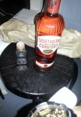 """Get it started"": A bottle of Southern Comfort on Hugh Bacalla Garth's Facebook page."