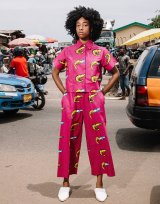 A model in the latest Yevu collection featuring traditional Ghanaian prints.