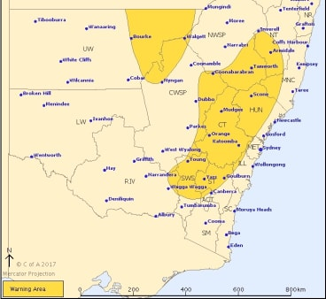 A severe thunderstorm warning has been issued for a large part of eastern NSW.