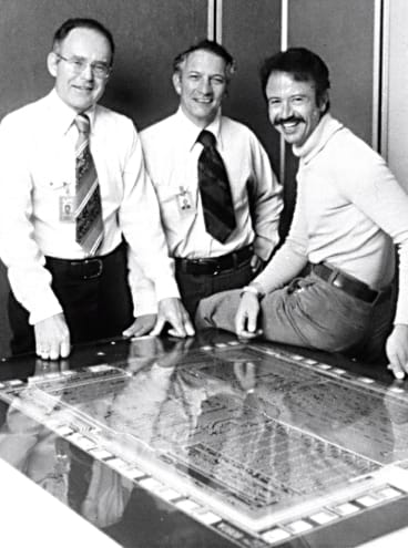 Pioneers in computing, founders of Intel, photographed in the late 1970s: Gordon Moore, Robert Noyce and Andy Grove