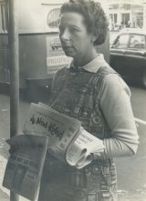 Joyce Stevens out on the streets selling radical papers.
