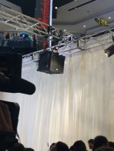 The egg running down the curtain at the Jenner event in Westfield Parramatta last month.
