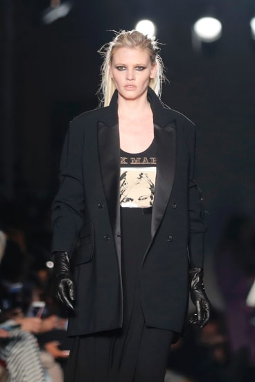 Model Lara Stone wears a creation as part of the Max Mara women's Fall/Winter 2018-2019 collection.