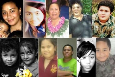 The fire victims (from top left) Anamalia Taufa, Ardelle Lee, Fusikalau Taufa, Neti-Teukisia Lale, and Jerry Lale. From bottom left: Kahlani Matauaina, La'Haina Matauaina, Selamafi Lale, Paul Lale, Lafoa'i Lale, and Richard Lale.