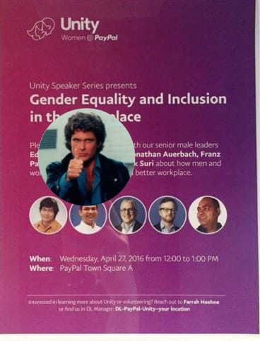 PayPal's all-male panel discussion on gender equality was mocked, including by this Tumblr site that gives all male panels the thumbs up from actor David Hasselhoff.