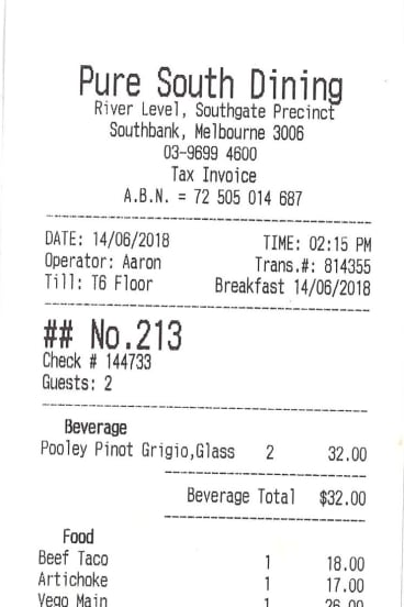 Receipt for lunch with Kiruna Stamell.