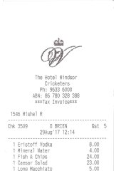 Receipt for lunch  at the Cricketers Bar.