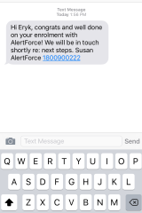 The enrolment text message received by Fairfax Media within two minutes.