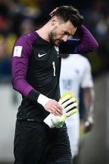 Dejected: French goalkeeper Hugo Lloris.