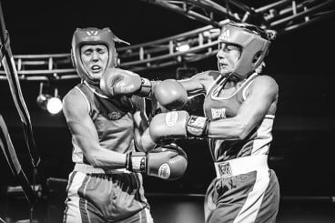 Claudine Chicheportiche (right) in a boxing fight in July, 2015.