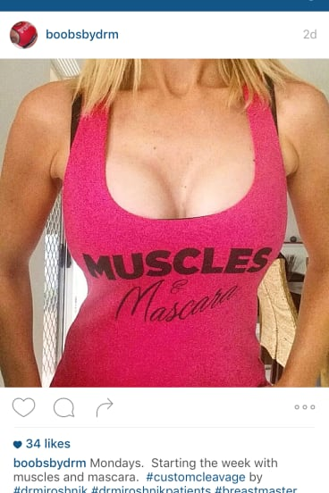 """The Instagram account of boobsbydrm, who says she is able to """"be someone different"""" on social media."""