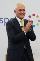 Prime Minister Malcolm Turnbull  all smiles during the Facebook debate. i