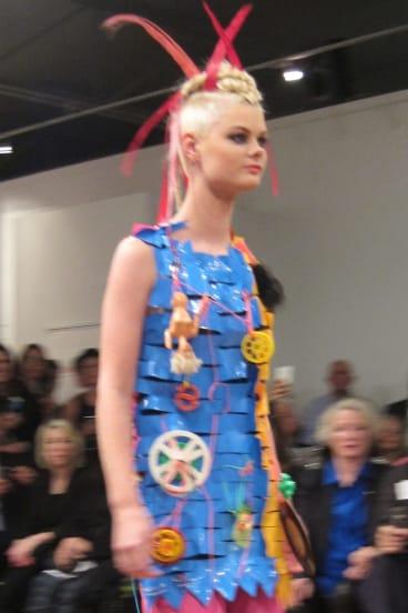 Jenny Bannister's plastic 'Je Suis Mod' dress.