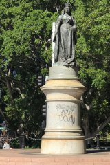 The statue of Queen Victoria was also targeted in the attack, with expletive-laden words painted onto the pedestal.