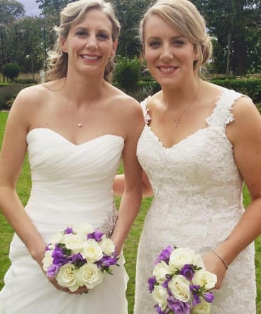 Jo and Sophie, the aunties who married in Britain. Their faces ached from smiling on their big day.