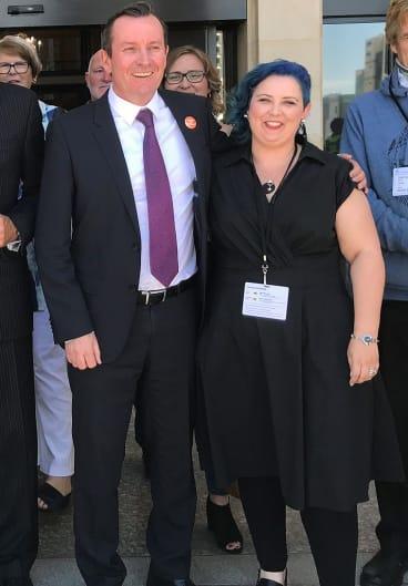 WA Premier Mark McGowan with sex abuse survivor Kirsty Pratt.