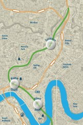 Map of proposed Cross River Rail project for Brisbane.