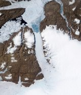 The Petermann Glacier in Northern Greenland, where a giant ice island  more than four times the size of New York's Manhattan Island, broke off in 2010.