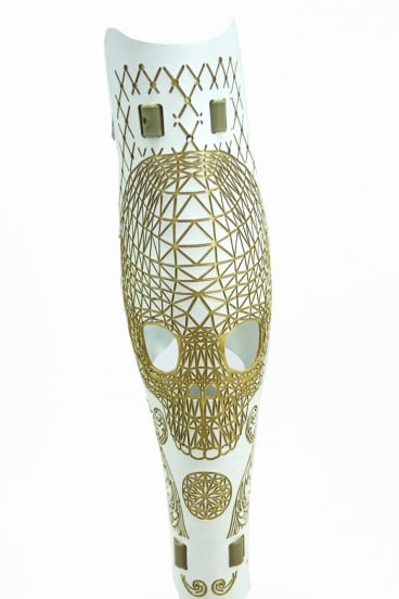 Alleles Design Studio's prosthetic leg covers come in multiple colours and patterns.
