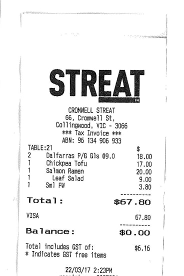Receipt for Clare Kermond's lunch with Kerry Kornhauser