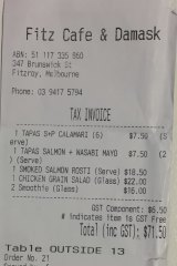 Receipt for lunch with Anthony Lehmo Lehmann at Fitz Cafe, Fitzroy.