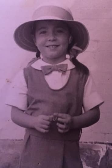Julie McCrossin on her first day at school in 1960 at Kambala's preparatory school, Massie House in Vaucluse.