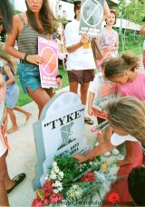 A memorial service for Tyke the day after her death in Honolulu.