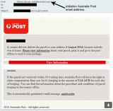 An email warning a victim they have missed a courier.