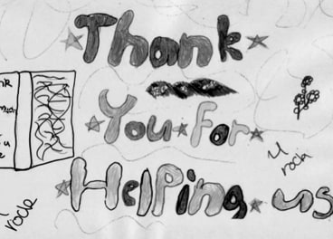 A card from a former child at the refuge.