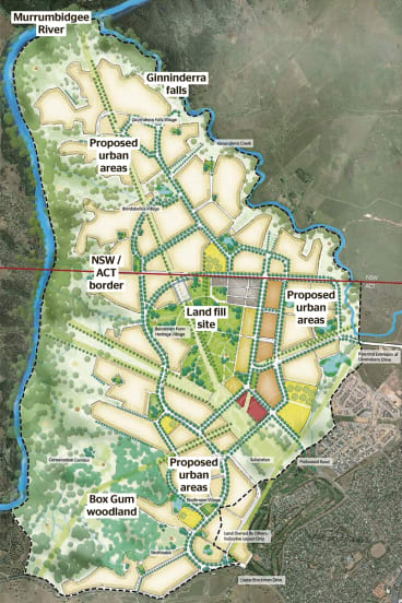 Artist's map impression of the West Belconnen masterplan.