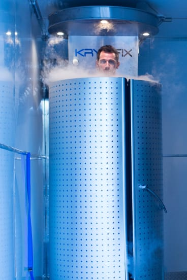 Socceroo Ryan McGowan in a mobile cryotherapy chamber ahead of the World Cup qualifier against Honduras.