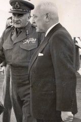Sir William Slim (left) in 1954 in Mount Isa with George Fisher, chairman of Mount Isa Mines,