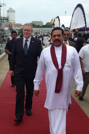 Former Immigration Minister Scott Morrison on a visit to Sri Lanka earlier this year where he met with Sri Lankan President Mahinda Rajapaksa.