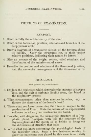 The University of Sydney medical school examination from 1900.