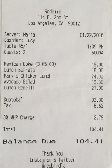 Receipt for lunch with Tim Minchin.