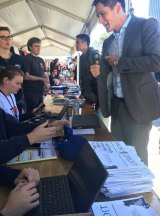 New members sign up to the Sydney University Liberal Club's stall on orientation day.