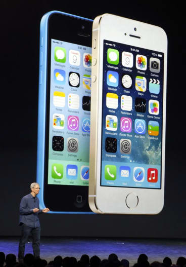 Apple chief executive officer Tim Cook launches the iPhone 6 and the iPhone 6 Plus. His keynote speech live stream was interrupted by technical problems.