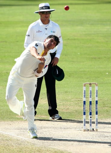 Yasir Shah bowling against Australia in the First Test.