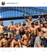 Party time: A photo from Mitchell Pearce 's Instagram account showing the Roosters players during their Australia Day festivities.